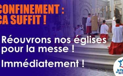 le PdF pour la réouverture des églises.
