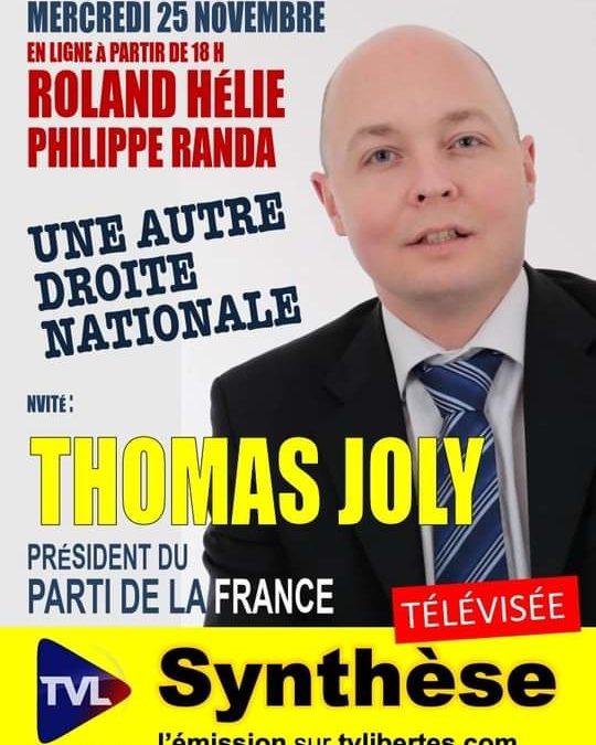 Thomas Joly, Président du PdF, invité de Radio TV Libertés.