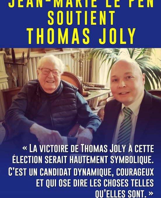 Législative dans l'Oise : soutien de Jean-Marie Le Pen a Thomas Joly.