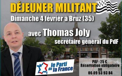 Déjeuner-militant en Bretagne à Bruz (35) avec Thomas Joly le dimanche 4 février