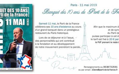 Paris – 11 mai 2019 Banquet des 10 ans du Parti de la France