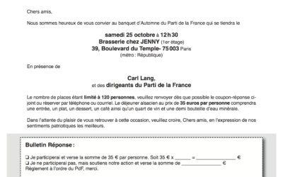 Banquet d'Automne du Parti de la France le 25 octobre à Paris